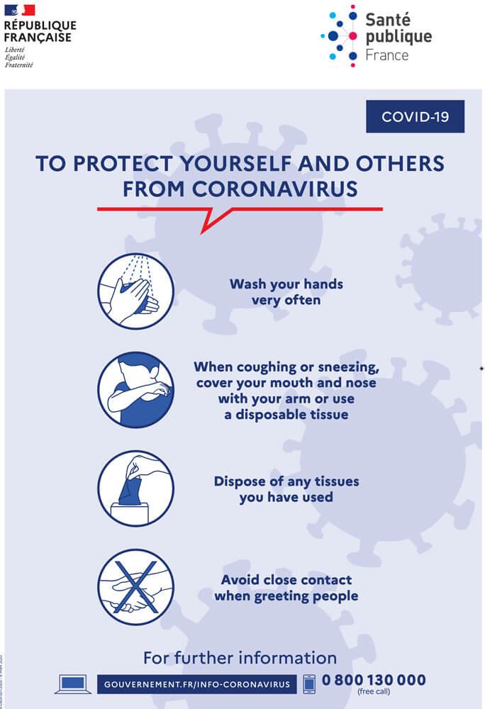 Pour me protéger et protéger les autres du coronavirus, des gestes simple a adopter. Je me lave les mains régulièrement, je tousse et j'éternue dans mon coude, je me mouche dans un mouchoir à usage unique et je me lave les mains après et j'évite les contacts avec les autres.